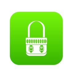 shoulder bag icon digital green vector image