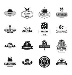 sleep logo icons set simple style vector image