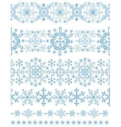Snowflakes seamless borderswinter pattern set vector