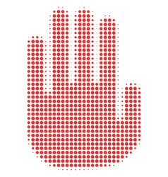 stop hand halftone icon vector image