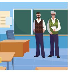 Teachers couple in classroom characters vector