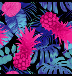 tropical fruits and palm leaves seamless vector image