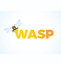 Wasp cartoon on color text predatory insect vector