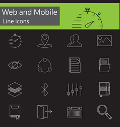 web and mobile line icons set outline vector image