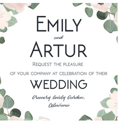 Wedding invitation floral invite card with flowers vector