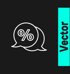 white line discount percent tag icon isolated on vector image