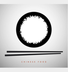 white rice bowl and chinese sticks-01 vector image