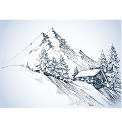 winter landscape in the mountains and cabin vector image