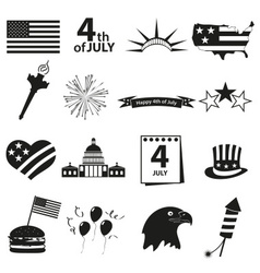 american independence day celebration icons set vector image vector image