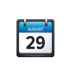 August 29 Calendar icon flat vector image vector image