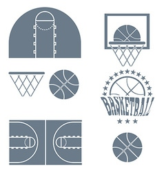 Basketball Game Objects Icons vector image vector image