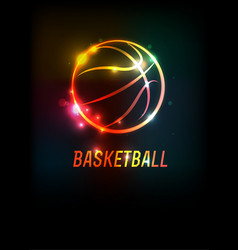 Glowing basketball icon background vector