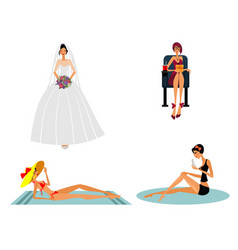 modern girls in different situations vector image vector image