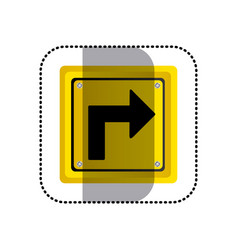 sticker yellow square frame turn right traffic vector image