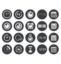 time clock calendar icons vector image