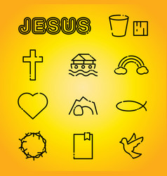 christian faith religion icons vector image vector image