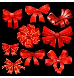 Red bow set vector image