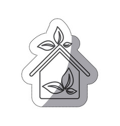 silhouette sticker eco houese with leaves icon vector image vector image
