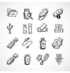Usb icons set vector image
