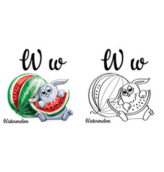watermelon alphabet letter w coloring page vector image vector image