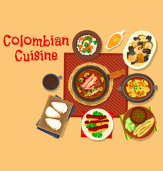 colombian cuisine dinner dishes icon design vector image