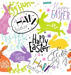 Easter pattern with lettering and bunnies vector image vector image