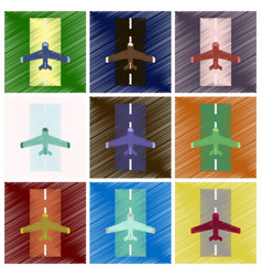 set of flat icons in shading style airplane runway vector image