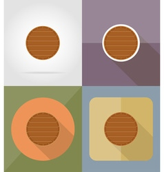 Wooden board flat icons 13 vector