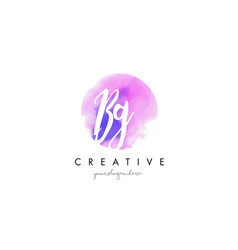 bg watercolor letter logo design with purple vector image vector image