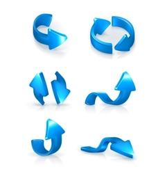 Blue arrows set vector image