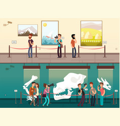 Cartoon museum gallery exhibition with painting vector