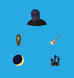 flat icon celebrate set of casket broom crescent vector image vector image