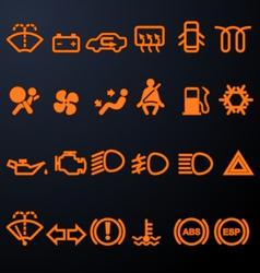 Illuminated car dashboard icons vector image