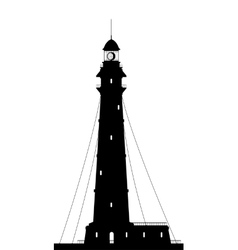 Lighthouse Silhouette of large lighthouse isolated vector image