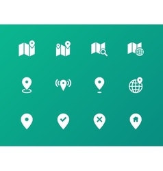 Map icons on green background GPS and Navigation vector image