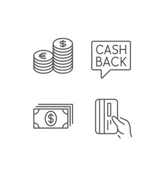 Money cash and credit card line icons coins vector