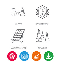 solar collector energy factory and industries vector image