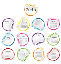 2015 Calendar with round glossy stickers vector image
