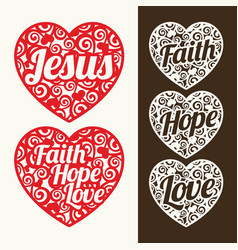 A set of hearts with christian inscriptions vector