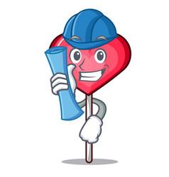Architect heart lollipop character cartoon vector