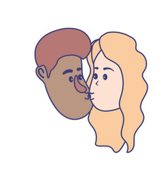 avatar couple face kissing with hairstyle design vector image
