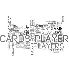 Baccarat chemin de fer rules of the game text vector