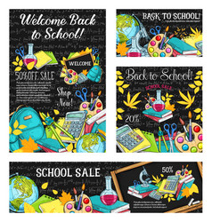 back to school sale banner or discount card design vector image