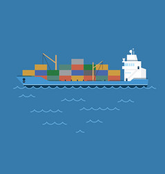 Barge cargo ship transporting vector