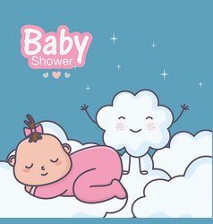 bashower cute little basleeping on clouds vector image