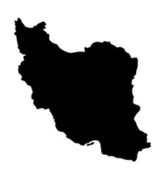 black silhouette country borders map of iran on vector image