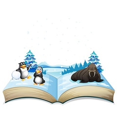 Book of sea lion and penguins on ice vector