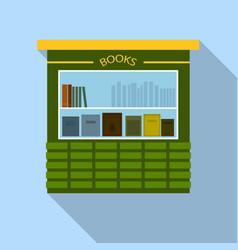 Book street kiosk icon flat style vector