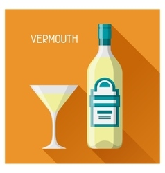 bottle and glass vermouth in flat design style vector image