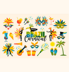Brazilian carnival set of icons vector